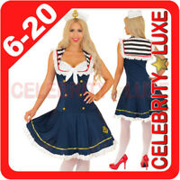 New 50's Navy Sailor Girl Uniform Ladies Rockabilly Pin Up Fancy Dress Costume