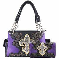 Justin West Fleur De Lis Western Bling Gleam Floral Conceal Carry Handbag Purse