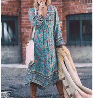 Chic Womens Summer Beach Dress Foral Casual Irregular V-neck Long Dress Casual