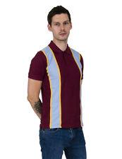 Relco Mens Burgundy / Sky Blue / Mustard Stripe Pique Polo Shirt 50s 60s MOD