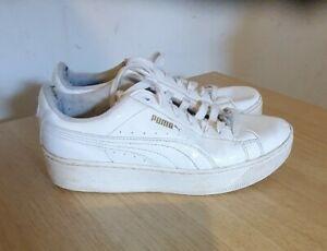 Womens White Patent Leather PUMA BASKET Trainers Size UK 5.5