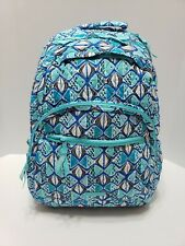 Vera Bradley Essential Large Quilted Backpack Go Fish Blue