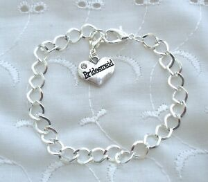 PERSONALISED SILVER PLATED RHINESTONE HEART BRACELET CHILDRENS - ADULTS 16-20CM