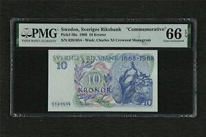 "1968 Sweden Sveriges Riksbank ""Commemorative""10 Kronor Pick#56a PMG 66 EPQ UNC"