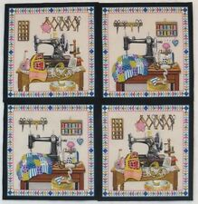 Vintage Sewing Machine Fabric Notions Thread Quilts 4 Quilt Block Squares Panels