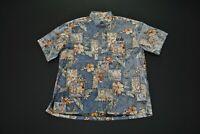 VTG Ke Nui UCLA Hawaiian Shirt Aloha Men's Large L Island Blue Print Floral