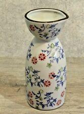 VTG SAKE BOTTLE VASE White with Blue Green Orange Flowers Made in China