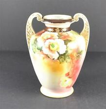Vintage Nippon Hand Painted Wreath M Ceramic Vase Flower Gold Gilt Handles 91/2""