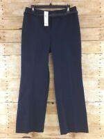 NWT Ann Taylor LOFT Dress Pants Womens 10P Laura Navy Blue Straight Leg Stretch