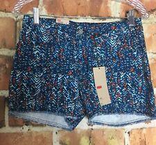 Levi's Womens Frayed Hem Short Shorts Size 4 Blue Print (F19)