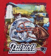 NFL New England Patriots Coastal Lighthouse Tall Ship Print Red T Shirt Sz XXXL