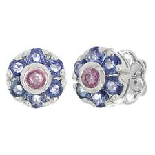 14k White Gold Multi Color Sapphire Gemstone Bouquet Flower Cluster Studs