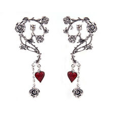 Pewter Alchemy Gothic The Blood Heart Rose Love Lure Wrap Cuff Earring Ear Stud
