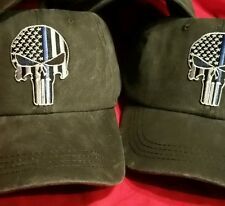 Thin Blue Line Punisher Ball Cap hat police USA flag SWAT