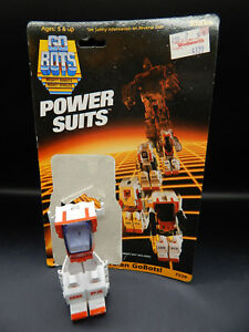 1985 vintage Tonka Gobots Guardians POWER SUITS toy w/ backing card Machine Robo