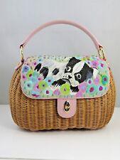 Eric Javits Pug Embroidered Wicker Large shoulder Handbag  Rare find