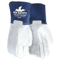 Mcr Safety 4853L Welding Leather Glove,Blue/Gray,L,Pk12