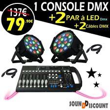 2 PARLED JEUX de lumière Puissants + 2 Câbles + 1 Contrôleur DMX à 192 canaux DJ