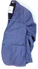 Men's Zara Sport Coat Blazer Blue Ramie-Cotton 38R Excellent Preowned Condition