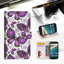 Purple Butterfly Phone Wallet Case Cover For Alcatel Pop Star -- A017