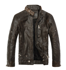 New Men's Warm Leather Jacket Winter Zipper Thickness Motorcycle Coat Praka Tops
