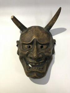 Japanese Wooden Noh Mask Vintage Hannya Face Kabuki Kagura Interior Z364