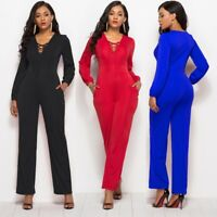 Women V-Neck Slim Fit Long Sleeve Siamese Pants Jumpsuit Sexy Maxi Tank Rompers