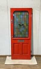 1930S LEADED STAINED GLASS WOODEN FRONT DOOR-RECLAIMED-EDWARDIAN-VICTORIAN-OLD