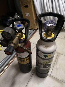 Coppia di bombole da 5lt, 1 Ossigeno e 1 Acetilene