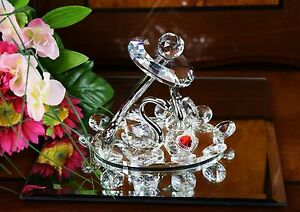 Crystal Cut Pair of Swan & Silver Effect Umbrella and Red Heart With Gift Box
