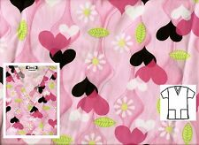 NEW Scrubs   ~   V Neck Print Scrub Top   ~  M   ~   All My Love Pink