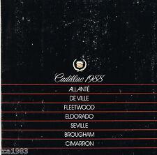 New listing 1988 Cadillac Brochure: Allante,De Ville,Fleetwood,Eldorado, Seville,Cimarron,60