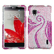 Sprint LG Optimus G LS970 Crystal Diamond BLING Hard Case Phone Cover Pink Tail