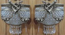 Pair Antique Replica Half Round Crystal Bronze French Empire Small Wall Sconces