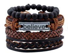 Bangle gothic Leather Bracelet Set Black brown Tribal Cuff Wristband  Men Women
