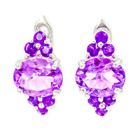 EARTH MINED 10X8MM AFRICAN AMETHYST RARE GEMSTONE STERLING SILVER 925 EARRING