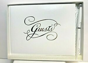 CR Gibson Guest Book with Pen White with Silver Foil Wedding Guest Book