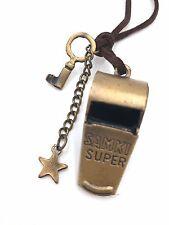 Vintage antique bronze whistle leather L star Samki Super necklace pendant