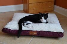 Armarkat Heavy Duty Canvas Soft Plush Dog Cat Pet Bed Mat Burgundy Ivory Medium