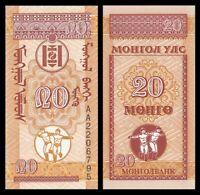 MONGOLIA 20 Mongo, 1993, P-50, Dancers, UNC World Currency
