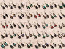 Wholesale Lot Earring 50Pcs Silver Plated Fire Opal Mix Gemstone Fashion Jewelry