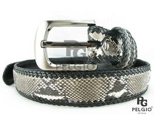 "PELGIO Real Genuine Python Snake Skin Leather Handmade Belt 46"" Long Natural New"