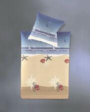 Irisette Baumwolle Seersucker Bettwäsche 4tlg maritim Seestern blau bunt 135x200