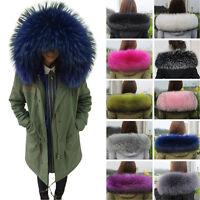 Warm Women's Winter Jacket Hood Decor Real Fur Collar Scarf RACCOON Fur Scarf