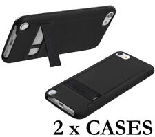 2 x PIECES for iPod Touch 5th & 6th Gen - Black Hard Rubber Gummy Kickstand Case