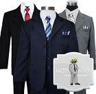Kids Boys Formal Dress Wear Pinstripe Suit Sizes 2T-20 Colors: Black,Navy,Grey