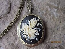 LILY OF THE VALLEY CAMEO LOCKET -ANTIQUE BRONZE, CREAM, VINTAGE LOOK, QUALITY,B2