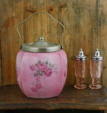 Antique FLORAL ROSE Biscuit Jar Barrel Silver Plated Lid Handle Pink
