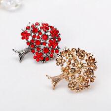 Stunning Crystal Rhinestone Tree of Life Brooch Pins Fruit Floral Collar Pin