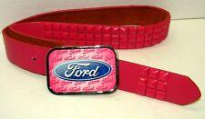 Ford Official Licensed Product Pink Metal Belt Buckle & Pink Stud Leather Belt